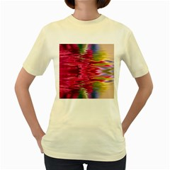 Abstract Pink Colorful Water Background Women s Yellow T Shirt