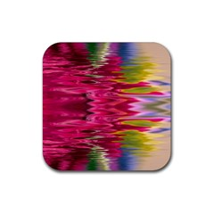 Abstract Pink Colorful Water Background Rubber Square Coaster (4 Pack)