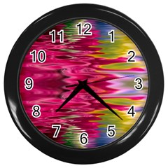 Abstract Pink Colorful Water Background Wall Clocks (black)