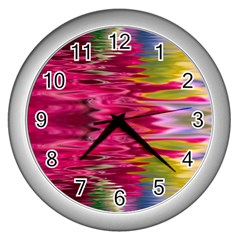 Abstract Pink Colorful Water Background Wall Clocks (Silver)