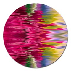 Abstract Pink Colorful Water Background Magnet 5  (round)