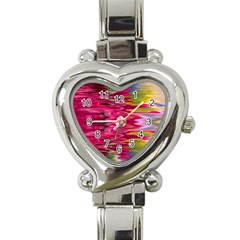 Abstract Pink Colorful Water Background Heart Italian Charm Watch