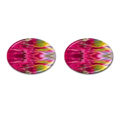 Abstract Pink Colorful Water Background Cufflinks (Oval)