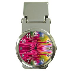 Abstract Pink Colorful Water Background Money Clip Watches