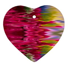 Abstract Pink Colorful Water Background Heart Ornament (two Sides)