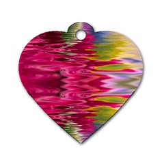 Abstract Pink Colorful Water Background Dog Tag Heart (two Sides)