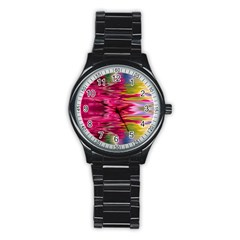 Abstract Pink Colorful Water Background Stainless Steel Round Watch