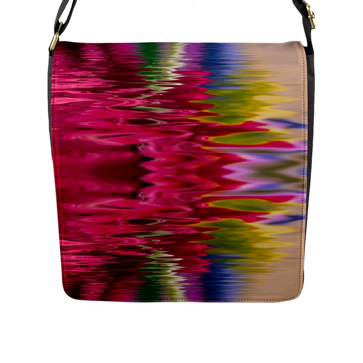 Abstract Pink Colorful Water Background Flap Messenger Bag (L)