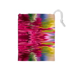 Abstract Pink Colorful Water Background Drawstring Pouches (medium)