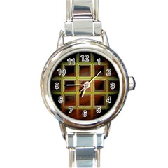 Drawing Of A Color Fractal Window Round Italian Charm Watch