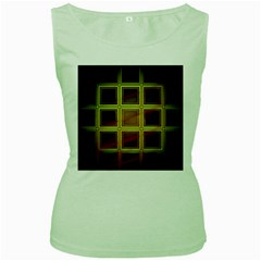 Drawing Of A Color Fractal Window Women s Green Tank Top