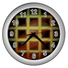 Drawing Of A Color Fractal Window Wall Clocks (silver)