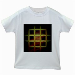 Drawing Of A Color Fractal Window Kids White T Shirts