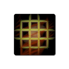 Drawing Of A Color Fractal Window Square Magnet