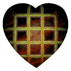 Drawing Of A Color Fractal Window Jigsaw Puzzle (heart)