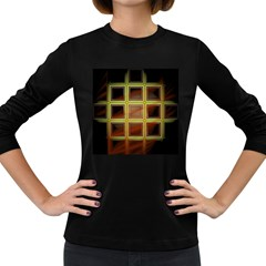 Drawing Of A Color Fractal Window Women s Long Sleeve Dark T Shirts