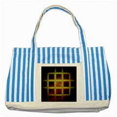 Drawing Of A Color Fractal Window Striped Blue Tote Bag