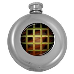 Drawing Of A Color Fractal Window Round Hip Flask (5 Oz)