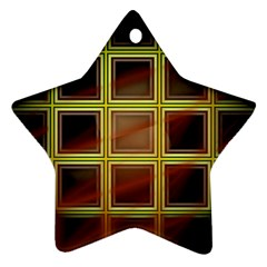 Drawing Of A Color Fractal Window Star Ornament (two Sides)