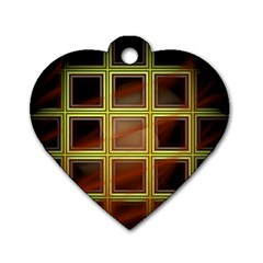 Drawing Of A Color Fractal Window Dog Tag Heart (one Side)