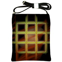 Drawing Of A Color Fractal Window Shoulder Sling Bags