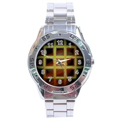 Drawing Of A Color Fractal Window Stainless Steel Analogue Watch