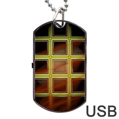 Drawing Of A Color Fractal Window Dog Tag Usb Flash (two Sides)