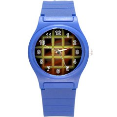 Drawing Of A Color Fractal Window Round Plastic Sport Watch (s)