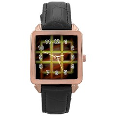 Drawing Of A Color Fractal Window Rose Gold Leather Watch