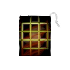 Drawing Of A Color Fractal Window Drawstring Pouches (small)