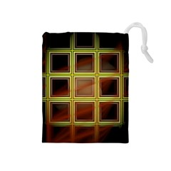 Drawing Of A Color Fractal Window Drawstring Pouches (Medium)