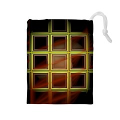 Drawing Of A Color Fractal Window Drawstring Pouches (Large)