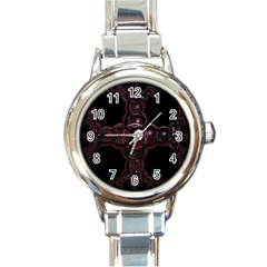 Fractal Red Cross On Black Background Round Italian Charm Watch