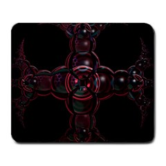 Fractal Red Cross On Black Background Large Mousepads