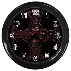 Fractal Red Cross On Black Background Wall Clocks (black)