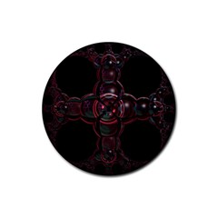 Fractal Red Cross On Black Background Rubber Round Coaster (4 Pack)