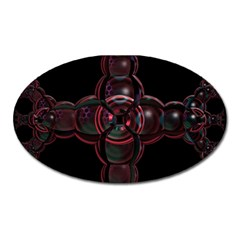 Fractal Red Cross On Black Background Oval Magnet