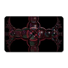 Fractal Red Cross On Black Background Magnet (rectangular)