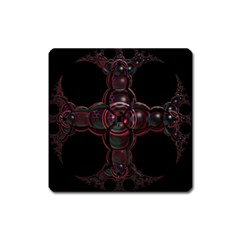 Fractal Red Cross On Black Background Square Magnet