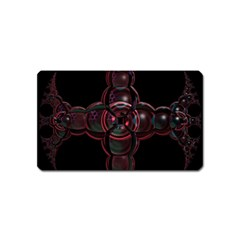 Fractal Red Cross On Black Background Magnet (Name Card)
