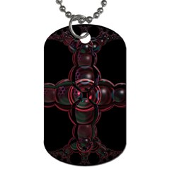 Fractal Red Cross On Black Background Dog Tag (one Side)