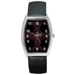 Fractal Red Cross On Black Background Barrel Style Metal Watch