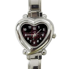 Fractal Red Cross On Black Background Heart Italian Charm Watch