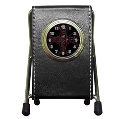 Fractal Red Cross On Black Background Pen Holder Desk Clocks