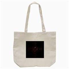 Fractal Red Cross On Black Background Tote Bag (cream)