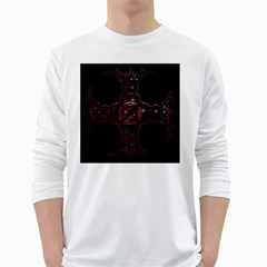 Fractal Red Cross On Black Background White Long Sleeve T Shirts