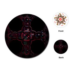 Fractal Red Cross On Black Background Playing Cards (round)