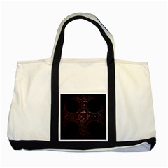 Fractal Red Cross On Black Background Two Tone Tote Bag