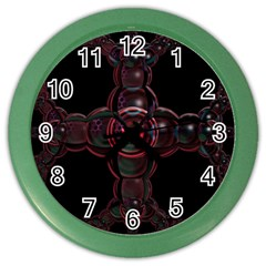 Fractal Red Cross On Black Background Color Wall Clocks