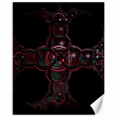 Fractal Red Cross On Black Background Canvas 11  X 14